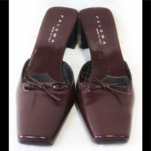 PALOMA Burgundy Leather Mules with Bows-Size 6.5